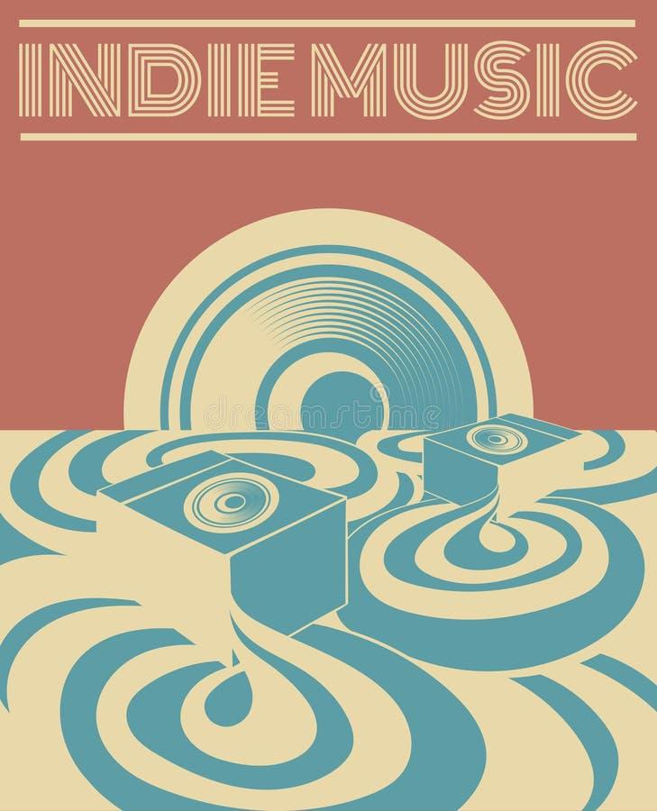 Musique indépendante Dirigez l'illustration tirée par la main du paysage surréaliste avec le système de son illustration stock