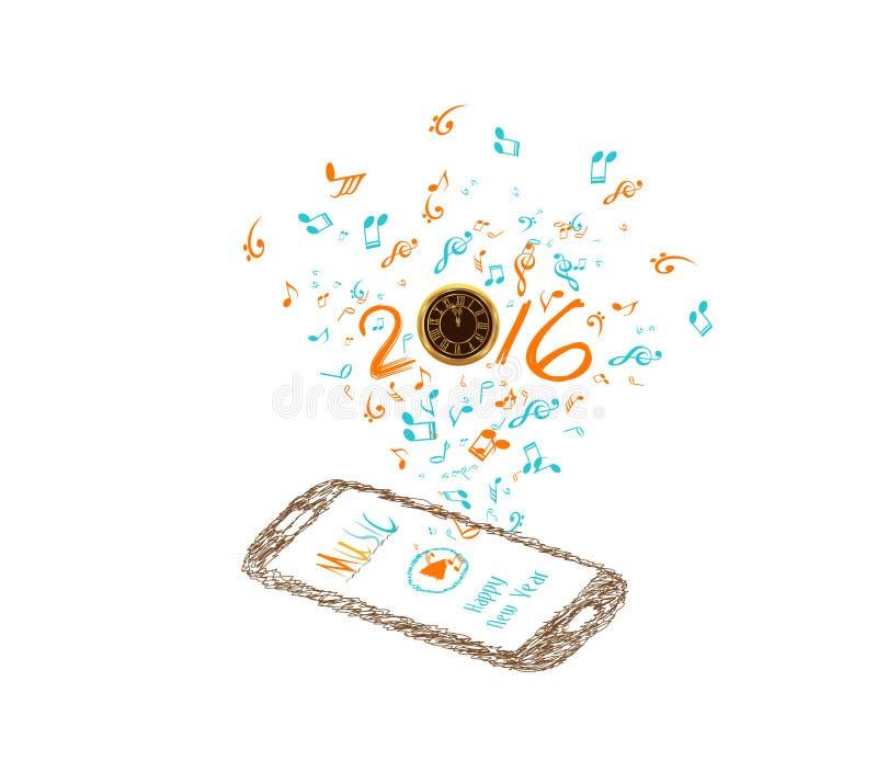 Musique pour le fond 2016 de bonne année avec les notes et le smartphone illustration libre de droits