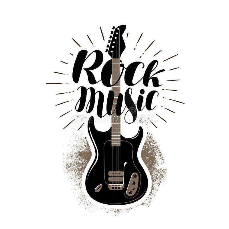 Musique rock, marquant avec des lettres Guitare, label de fretboard Illustration de vecteur illustration de vecteur