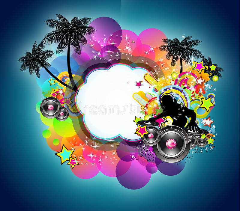 Musique tropicale et fond latin de disco illustration stock