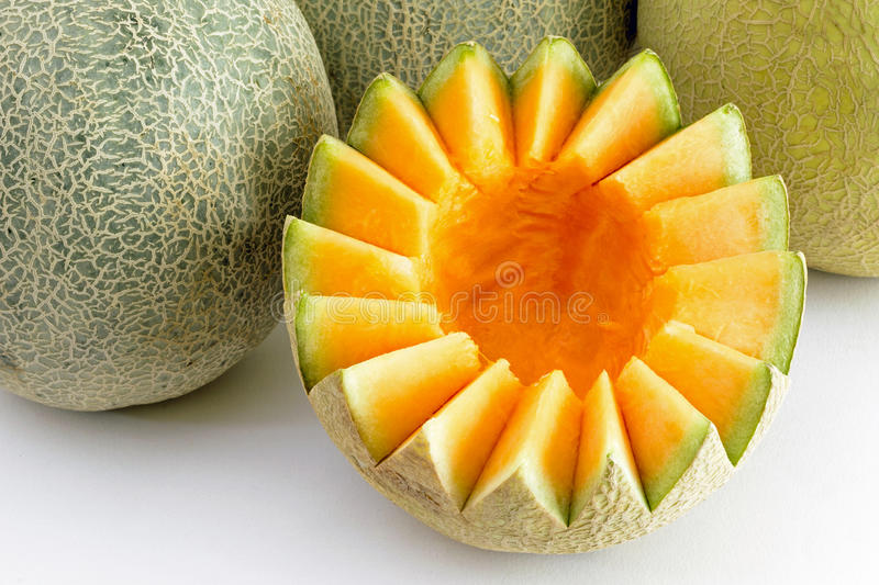 Musk Melon cut and cleaned royalty free stock photography
