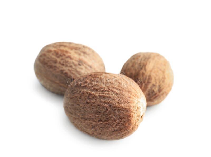 Muskatnuts auf wei?em Hintergrund stockbild