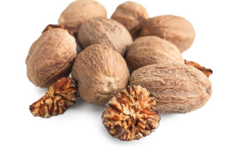 Muskatnuts auf wei?em Hintergrund stockfoto