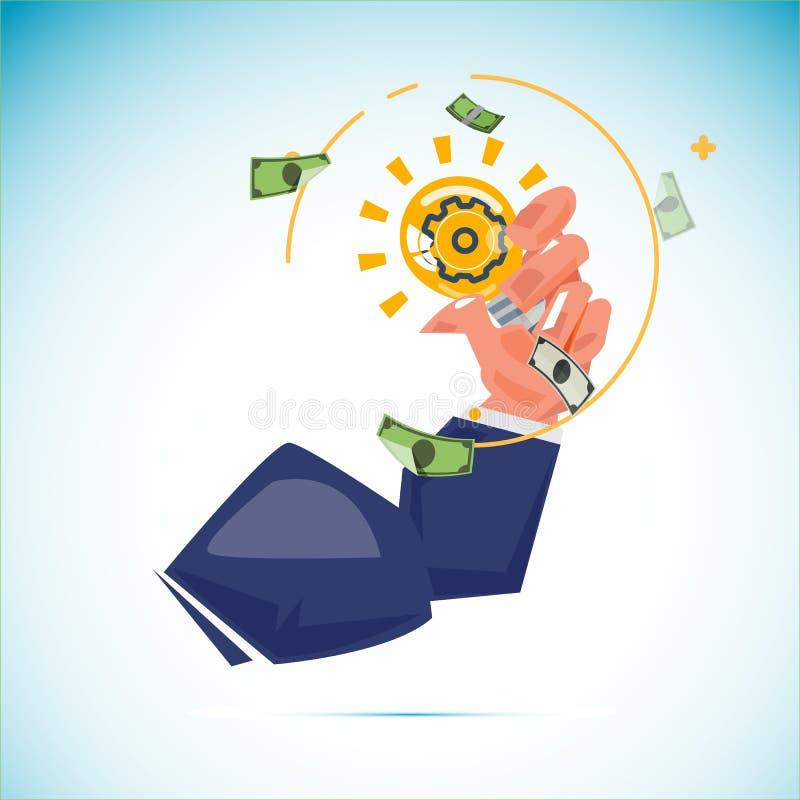 Muskelarm der Geschäftsmanngriff-Ideenglühlampe mit Geld bankn stock abbildung