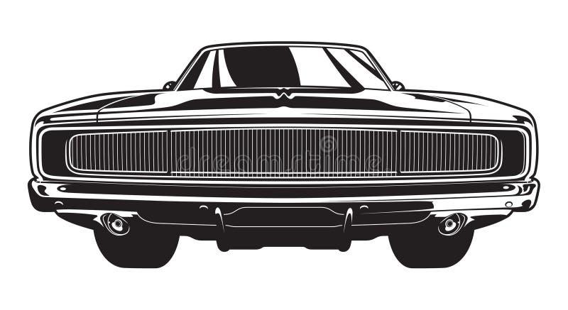 Muskelbil Front View vektor illustrationer