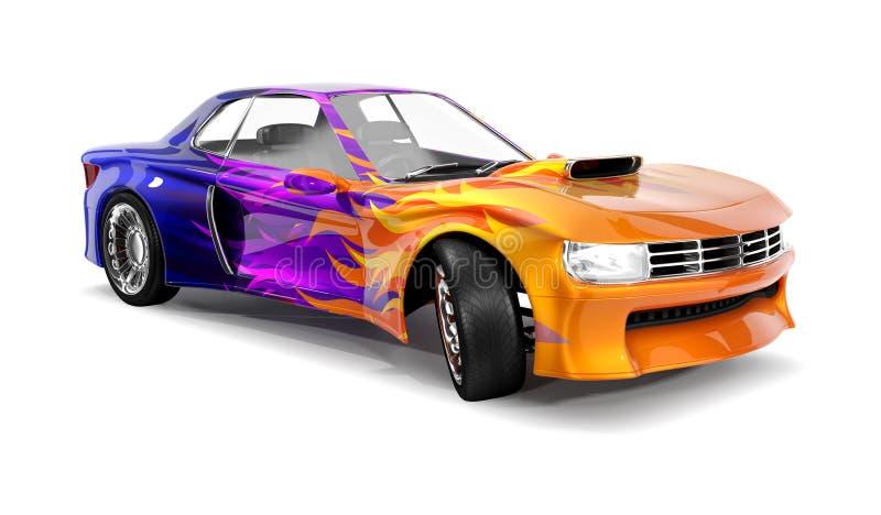 Muskelbil med den kulöra modellen av flamman, blått royaltyfri illustrationer