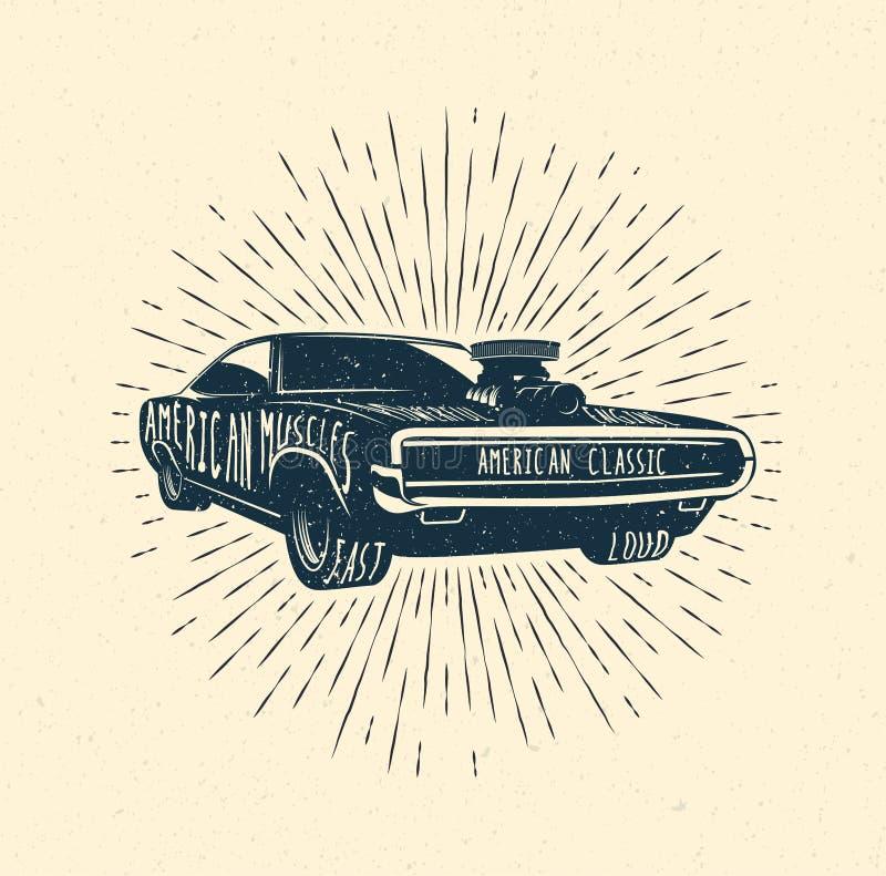 Muskelbilen, tappning utformade vektorillustrationen stock illustrationer