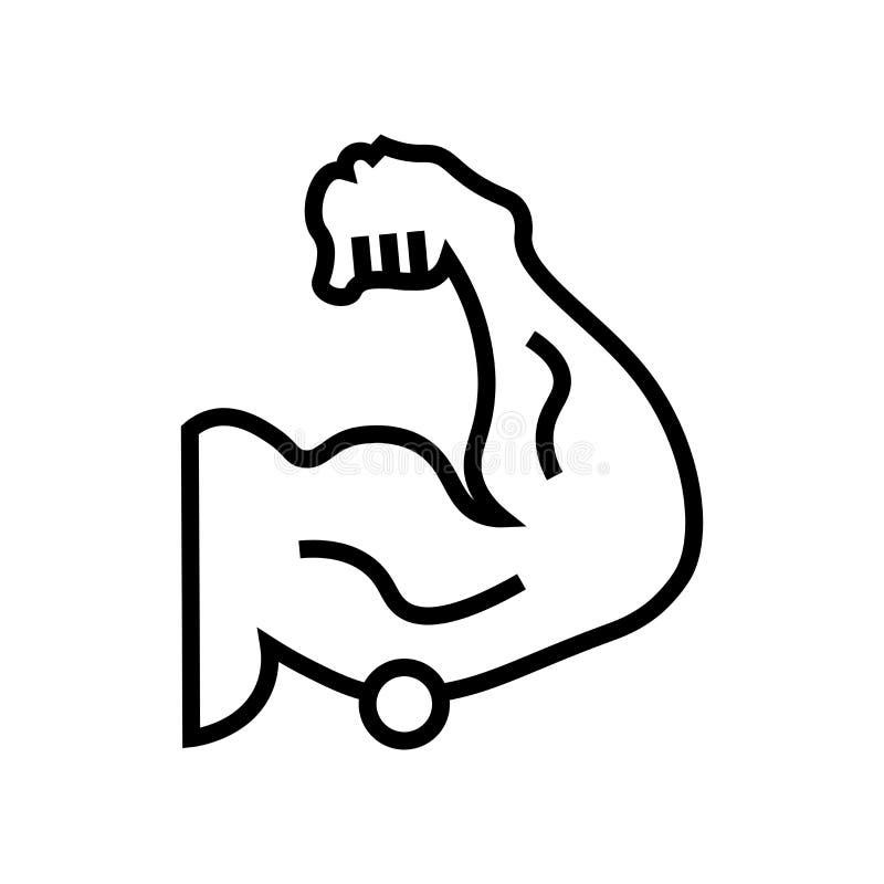 Muskelikonenvektorzeichen und -symbol lokalisiert auf weißem Hintergrund, Muskellogokonzept stock abbildung