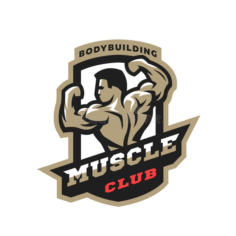 Muskelklubba Bodybuildingemblem, logo stock illustrationer