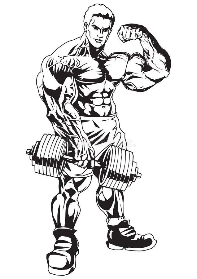 Muskelmän stock illustrationer