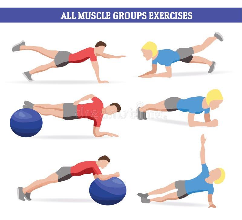 Muskeln för illustrationen grupperar allra bollen och plankan för övningswirhkondition vektor illustrationer