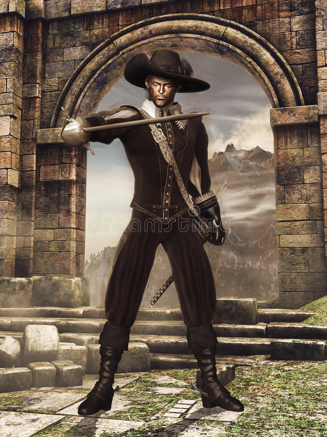 Musketeer with a sword stock illustration
