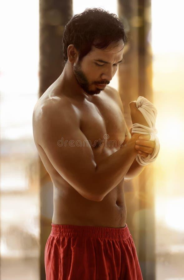 Muskulös asiatisk manlig boxare som slår in hans händer i boxningband royaltyfri bild