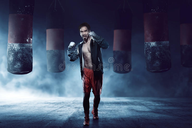 Muskulös asiatisk vuxen boxaremanutbildning arkivbilder