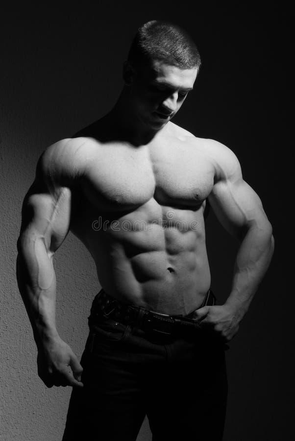 Muskulös kroppsbyggare arkivfoton
