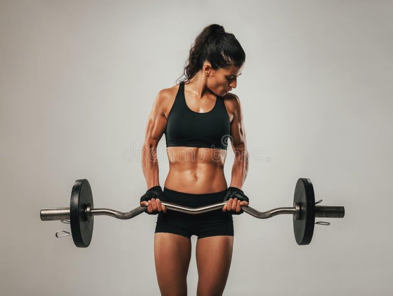 Muskulös kvinna som använder skivstången som ser hennes armar arkivbild
