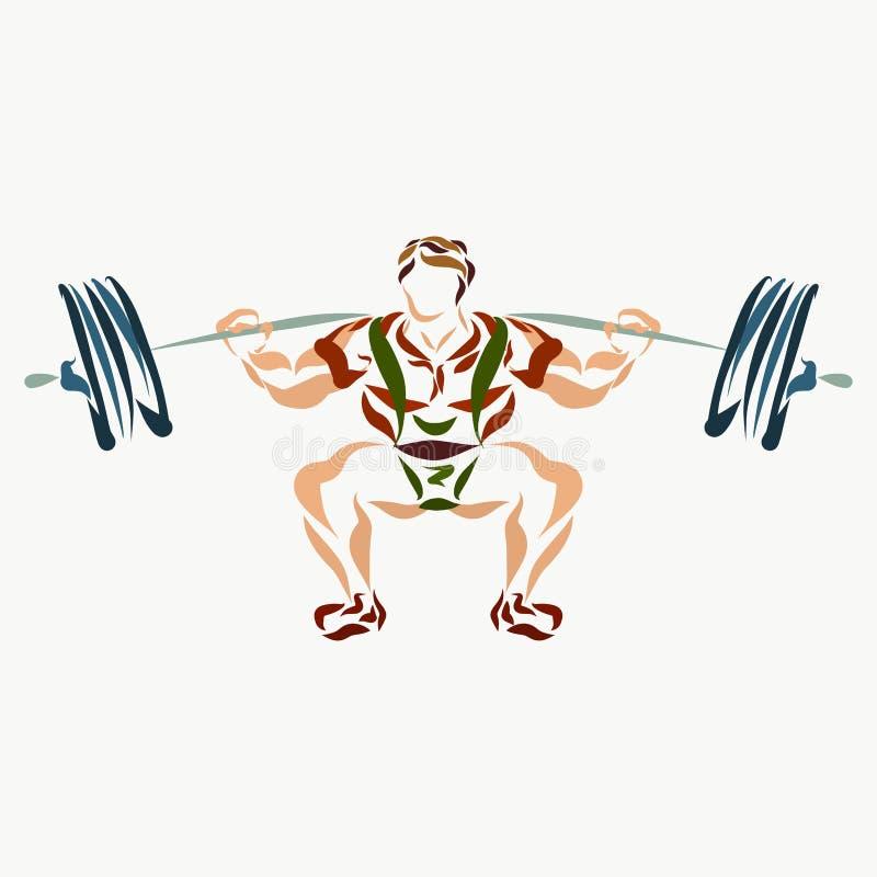 Muskulös man som lyfter en skivstång royaltyfri illustrationer