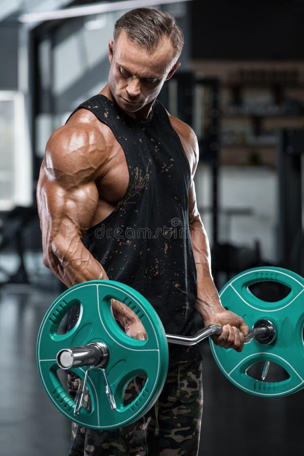 Muskulös man som utarbetar i idrottshallen som gör övningar med skivstången på biceps, stark manlig kroppsbyggare arkivbilder