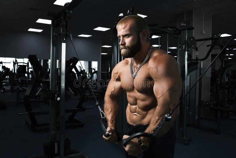 Muskulös man som utarbetar i idrottshallen som gör övningar på triceps royaltyfri fotografi