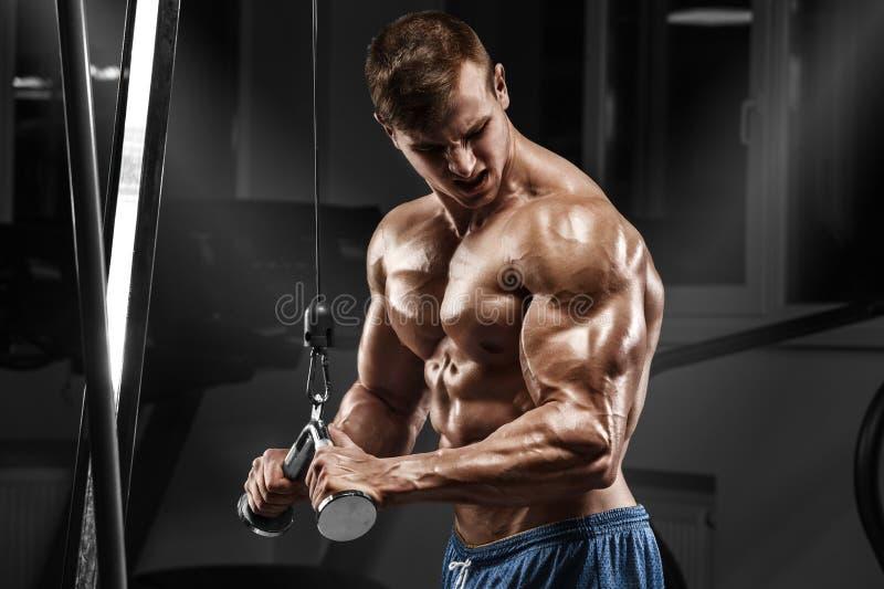 Muskulös man som utarbetar i idrottshallen som gör övningar på triceps, stark manlig naken torsoabs royaltyfri foto