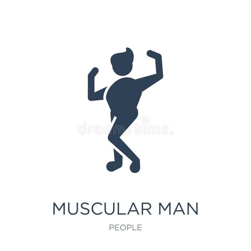 muskulös man som visar hans muskelsymbol i moderiktig designstil muskulös man som visar hans muskelsymbol som isoleras på vit bak stock illustrationer