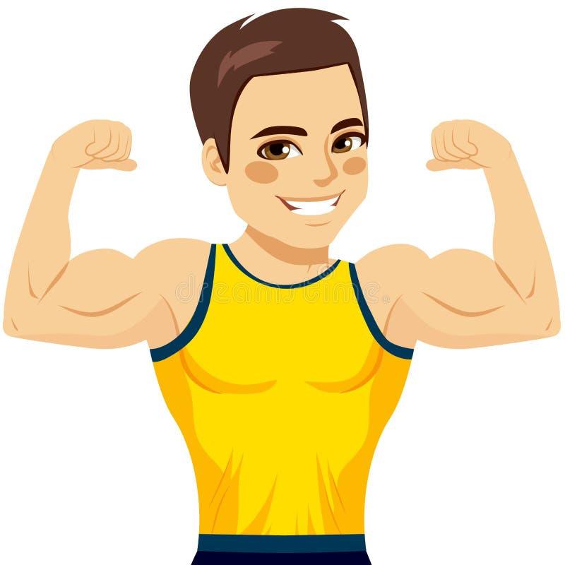 Muskulös manbiceps vektor illustrationer