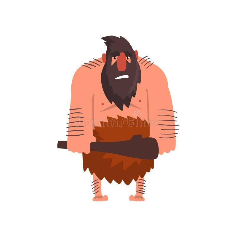 Muskulös primitiv grottmänniska med klubban, illustration för vektor för tecknad film för tecken för man för stenålder förhistori vektor illustrationer