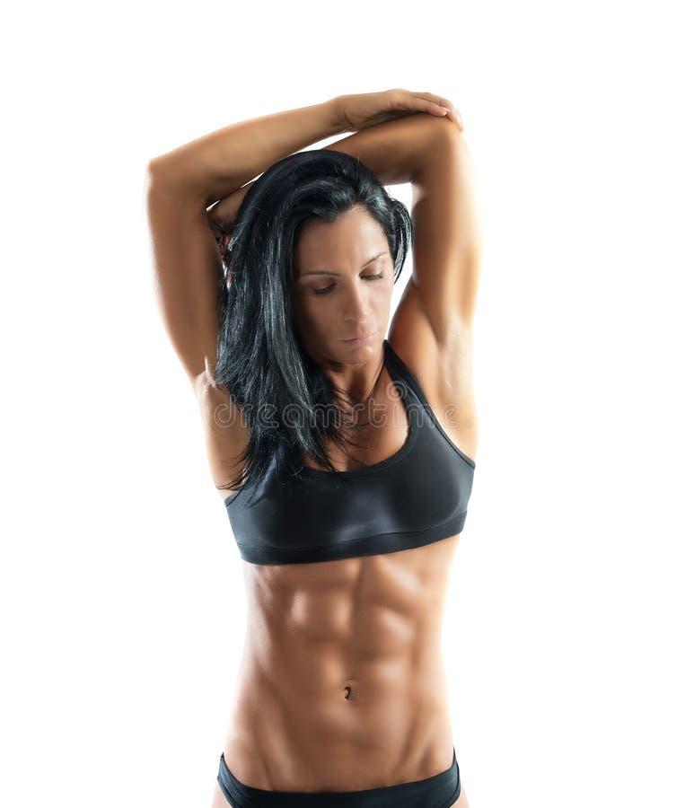 Muskulös sexig kvinna royaltyfri foto