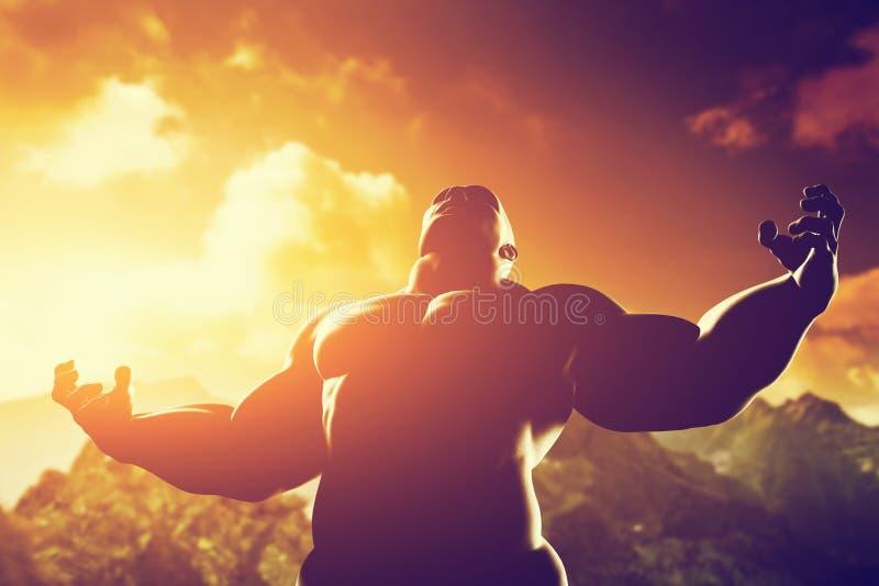 Muskulös stark man med hjälten, idrotts- kroppform som uttrycker hans makt och styrka arkivbild