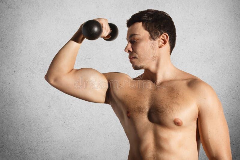 Muskulösa manliga kroppsbyggaredemostrates hans starka kropp, elevatorhantel över den gråa betongväggen och att vara nakna, showe royaltyfri fotografi