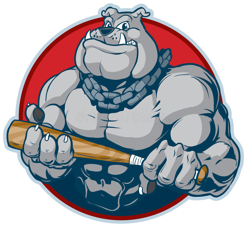 Muskulöse Bulldogge mit Schläger-Maskottchen-Vektor-Illustration vektor abbildung