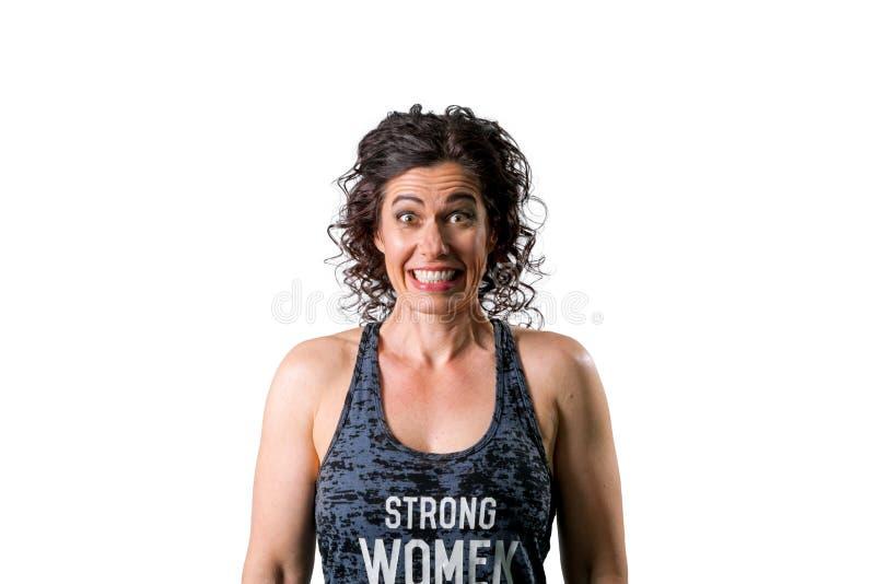 Muskulöse Frauen-zusammengebissene Zähne stockbilder
