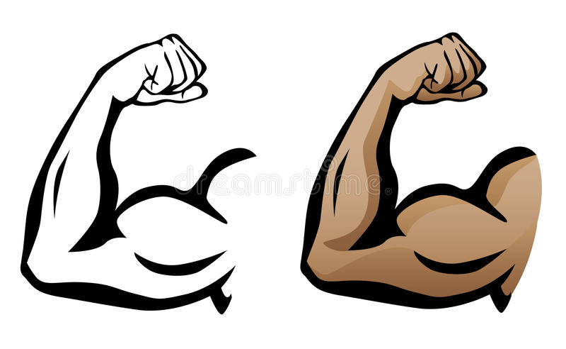 Muskulöser Arm, der Bizeps-Illustration biegt stockbilder