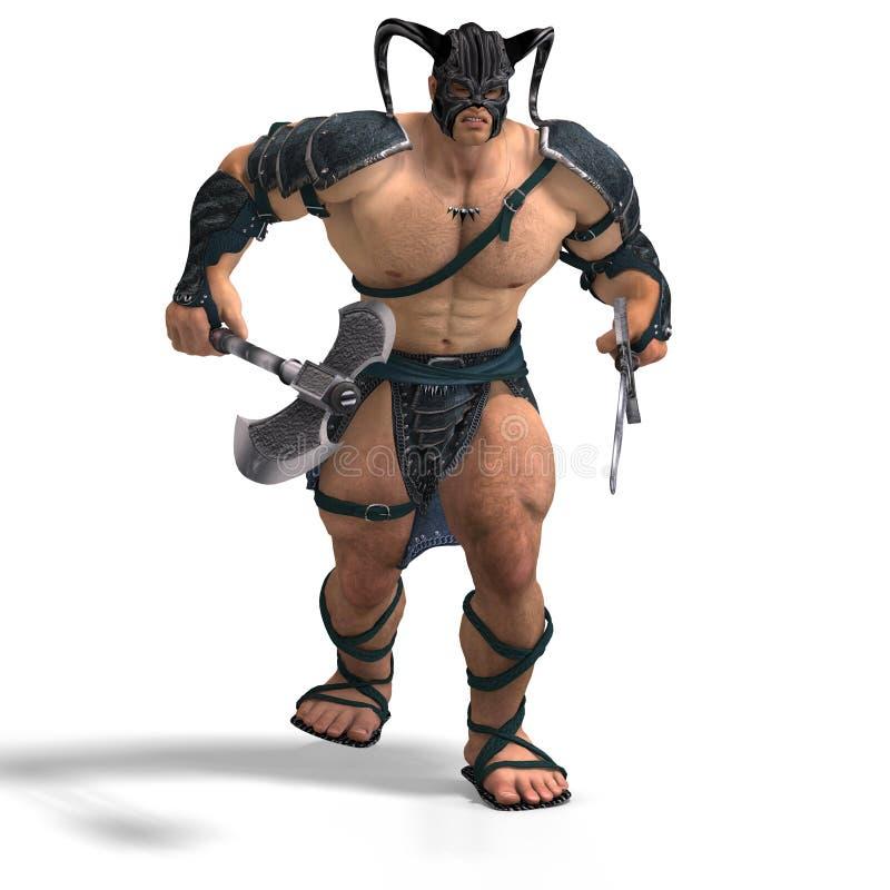 Muskulöser barbarischer Kampf mit Klinge und Axt stock abbildung