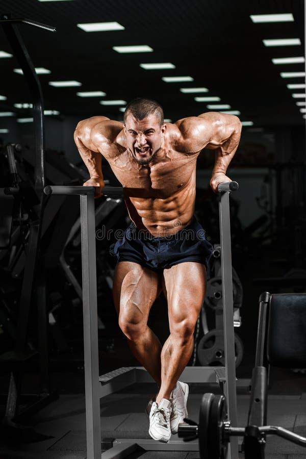 Muskulöser Bodybuilder, der in der Turnhalle tut Übungen auf paral ausarbeitet stockbild