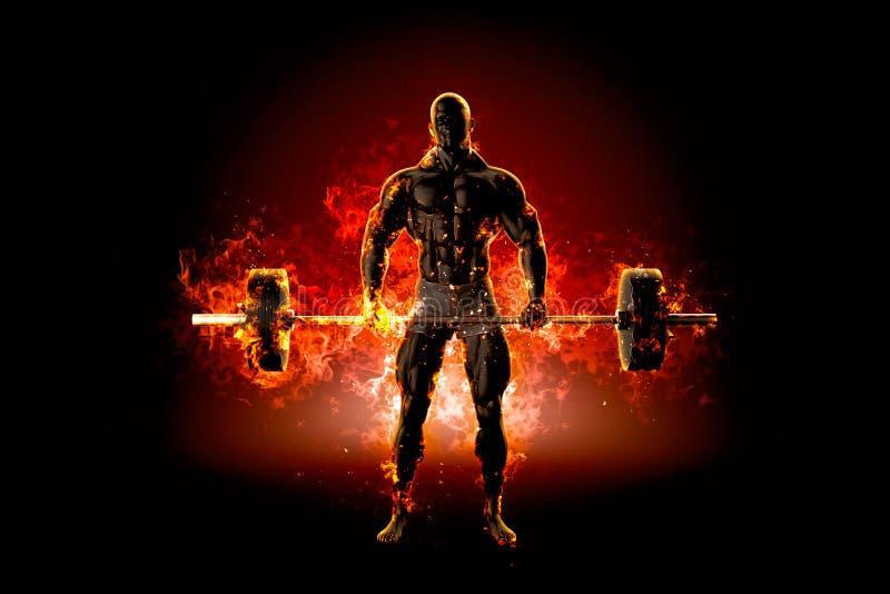 Muskulöser Bodybuilder mit Barbell Feuer explodieren Konzept illu 3d lizenzfreie abbildung