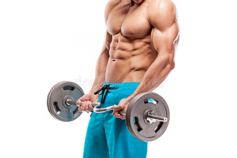 Muskulöser Bodybuilderkerl, der Übungen mit Dummköpfen tut lizenzfreie stockfotos