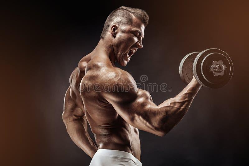 Muskulöser Bodybuilderkerl, der Übungen mit Dummkopf tut lizenzfreie stockfotografie