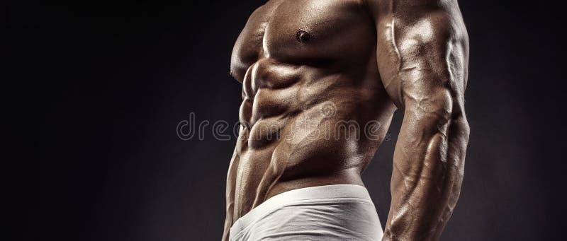 Muskulöser Bodybuilderkerl, der Übungen mit Dummkopfdiskette tut lizenzfreie stockfotos
