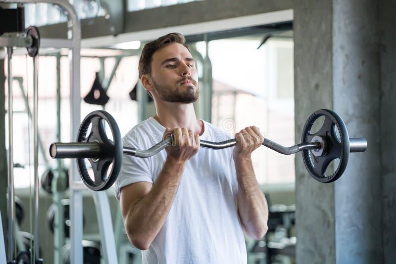 Muskul?ser Bodybuilderkerl, der ?bungen mit Gewichtheben Barbell in der Turnhalle tut Eignungs-Manntraining des Sports junges arb lizenzfreie stockfotos