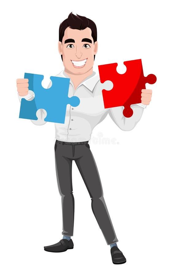 Muskulöser hübscher businessmanMuscular hübscher Geschäftsmann, der zwei Stücke des Puzzlespiels hält vektor abbildung