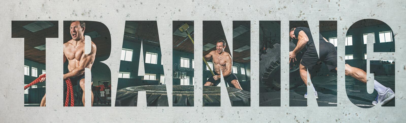 Muskulöser junger männlicher Athlet, kreative Collage stockfotografie