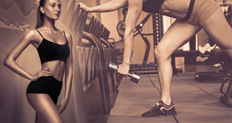 Muskulöser junger weiblicher Athlet, kreative Collage lizenzfreie stockbilder
