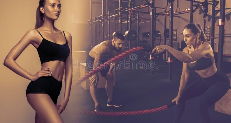 Muskulöser junger weiblicher Athlet, kreative Collage lizenzfreie stockfotografie