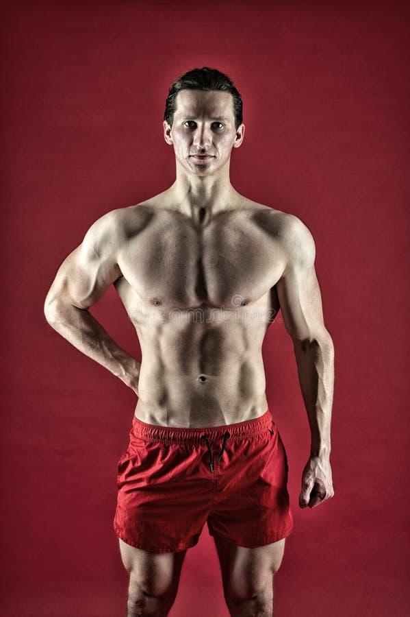 Muskulöser Kasten des attraktiven Kerls stolz auf ausgezeichnete Form Gesund und stark Muskulöses Bodybuilderkonzept improve lizenzfreie stockfotografie