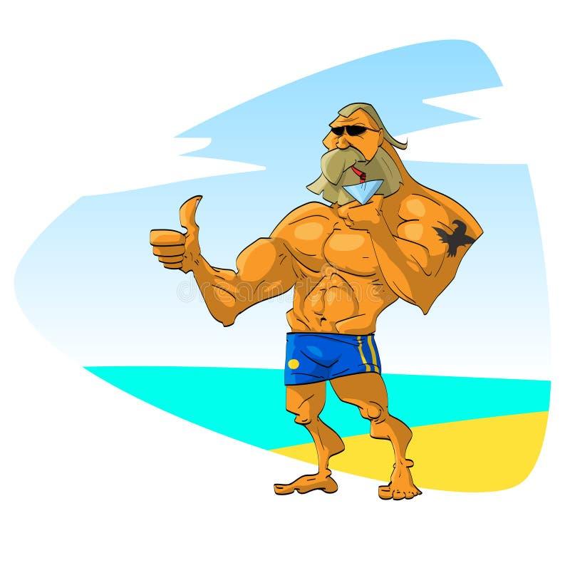 Muskulöser Kerl auf dem Strand lizenzfreie abbildung