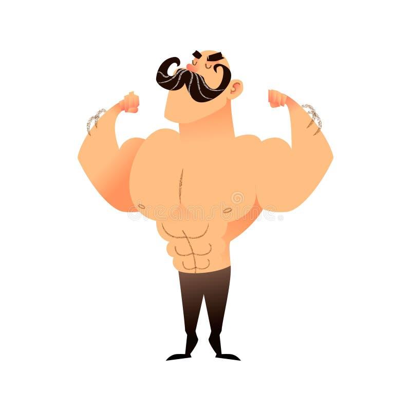 Muskulöser Mann der Karikatur mit einem Schnurrbart Lustiger athletischer Kerl Kahler Mann zeigt stolz seine Muskeln in den stark vektor abbildung