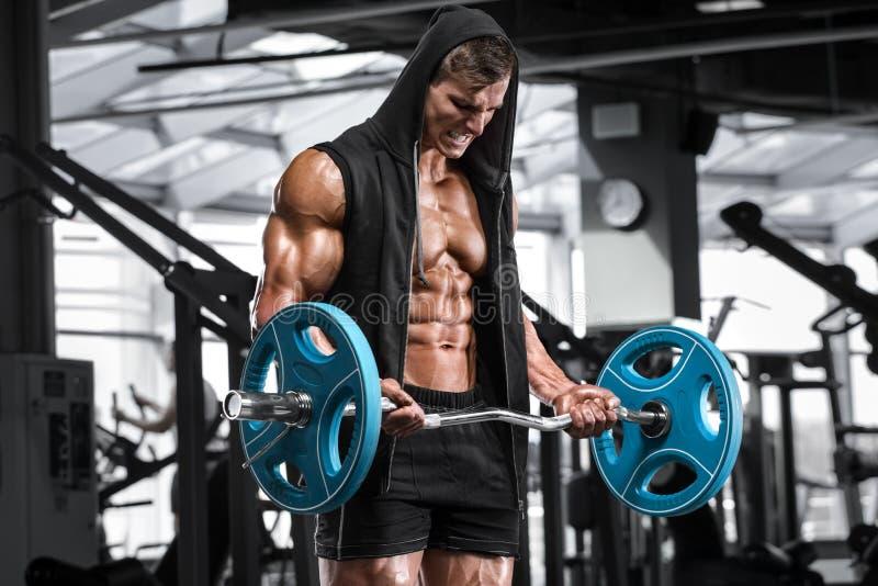 Muskulöser Mann, der in der Turnhalle tut Übungen mit Barbell für Bizeps, starke männliche nackte Torso-ABS ausarbeitet stockfotografie