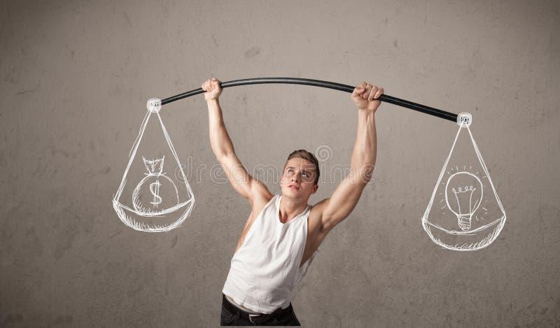 Muskulöser Mann, der versucht, ausgeglichen zu erhalten stockfoto