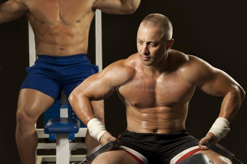 Muskulöser Mann, der Weightlifting in der Gymnastik tut stockbilder